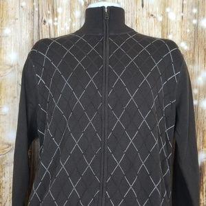 BKE full zip brown sweater mens sz L